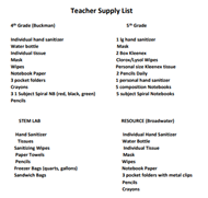 School Supply List 4-5